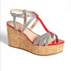 Kate Spade Striped Patent Tropez Cork Wedges